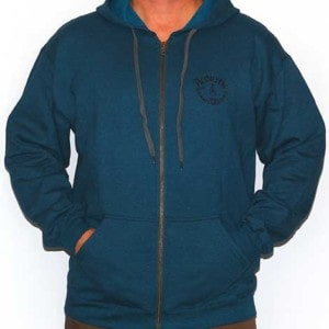Teal hoody with black logo